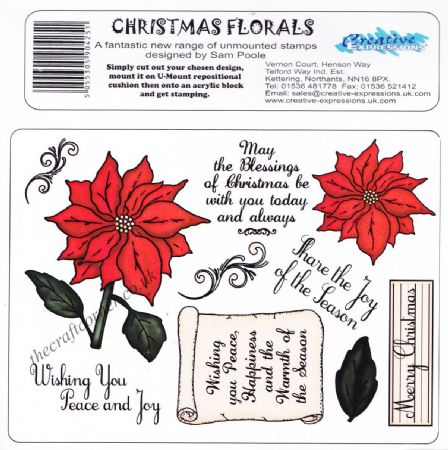 Christmas Florals 10 Unmounted Rubber Stamps Designed By Sam Poole